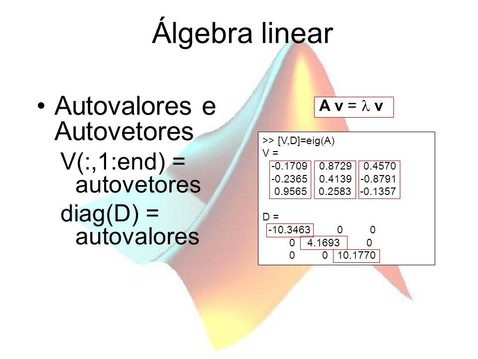 Álgebra linear Autovalores e Autovetores V(:,1:end) = autovetores diag(D) = autovalores A v = v >> [V,D]=eig(A) V = -0.1709 0.8729 0.4570 -0.2365 0.4139 -0.8791 0.9565 0.2583 -0.1357 D = -10.3463 0 0 0 4.1693 0 0 0 10.1770