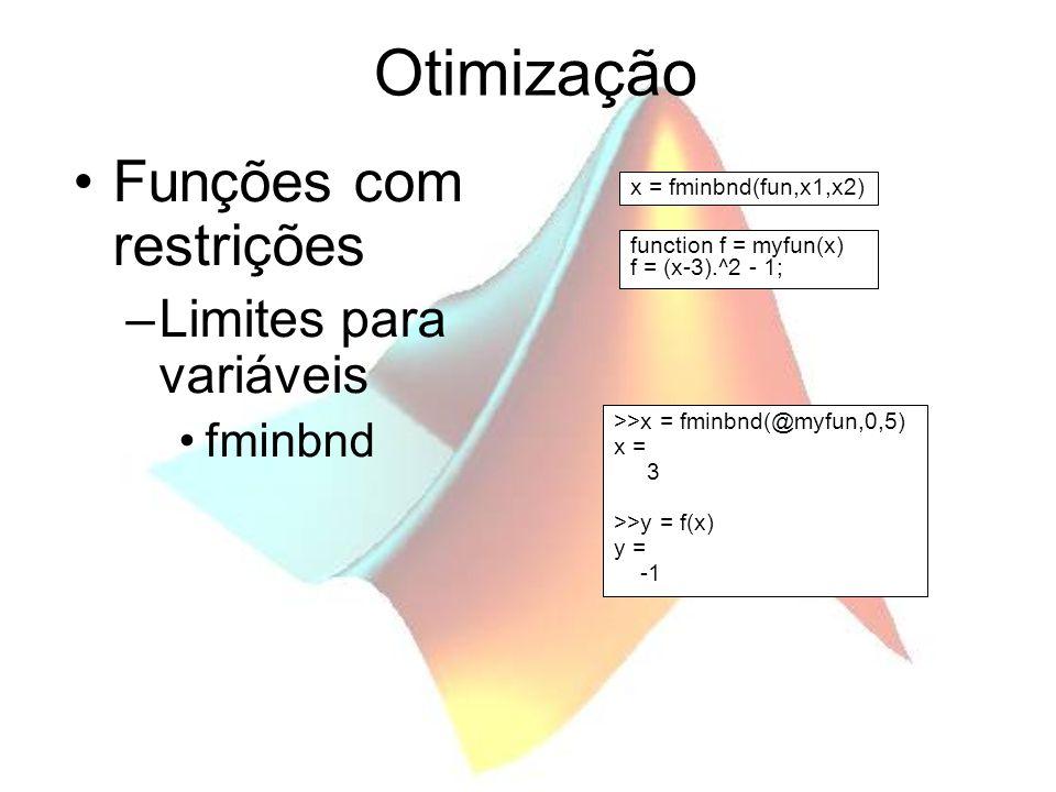 Otimização Funções com restrições –Limites para variáveis fminbnd >>x = fminbnd(@myfun,0,5) x = 3 >>y = f(x) y = function f = myfun(x) f = (x-3).^2 -