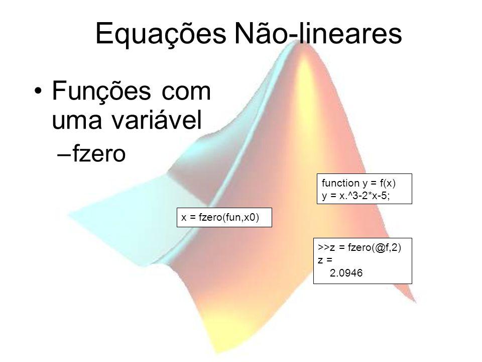 Equações Não-lineares Funções com uma variável –fzero x = fzero(fun,x0) function y = f(x) y = x.^3-2*x-5; >>z = fzero(@f,2) z = 2.0946