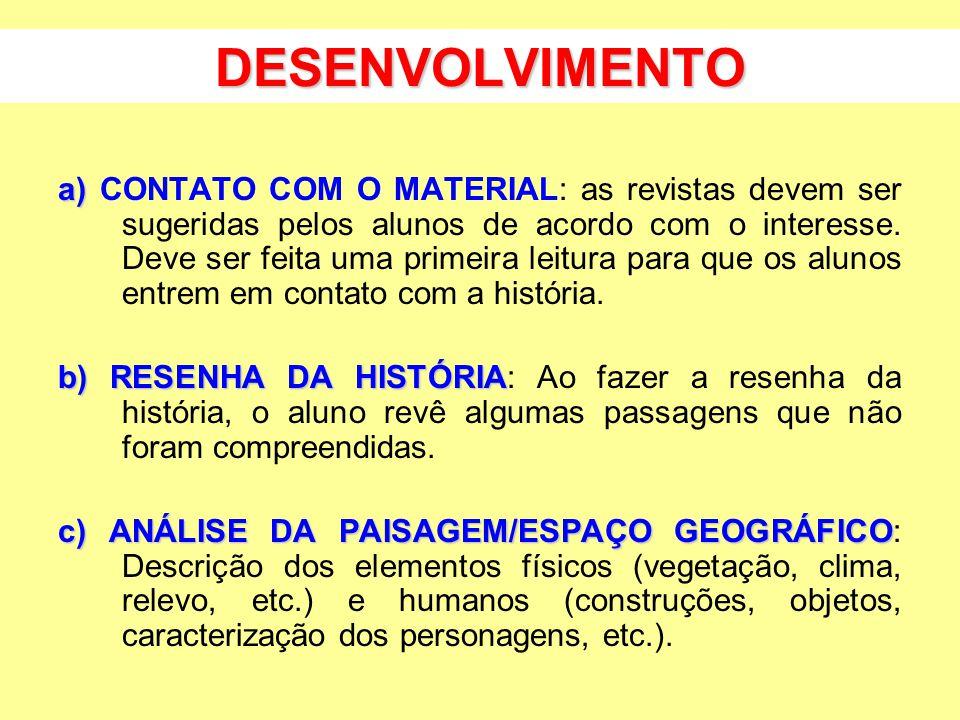 DESENVOLVIMENTO a) a) CONTATO COM O MATERIAL: as revistas devem ser sugeridas pelos alunos de acordo com o interesse.