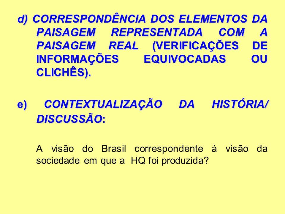 d) CORRESPONDÊNCIA DOS ELEMENTOS DA PAISAGEM REPRESENTADA COM A PAISAGEM REAL (VERIFICAÇÕES DE INFORMAÇÕES EQUIVOCADAS OU CLICHÊS). e)CONTEXTUALIZAÇÃO