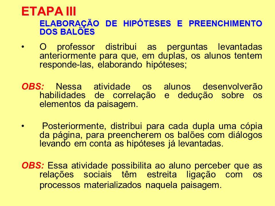 ETAPA III ELABORAÇÃO DE HIPÓTESES E PREENCHIMENTO DOS BALÕES O professor distribui as perguntas levantadas anteriormente para que, em duplas, os aluno