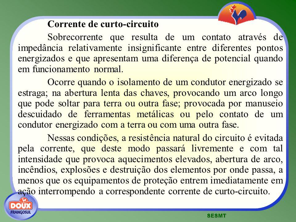 Corrente de curto-circuito Sobrecorrente que resulta de um contato através de impedância relativamente insignificante entre diferentes pontos energiza