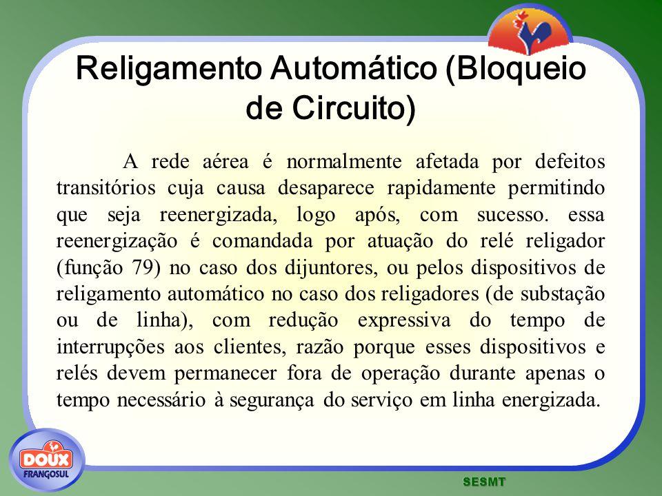Religamento Automático (Bloqueio de Circuito) A rede aérea é normalmente afetada por defeitos transitórios cuja causa desaparece rapidamente permitind