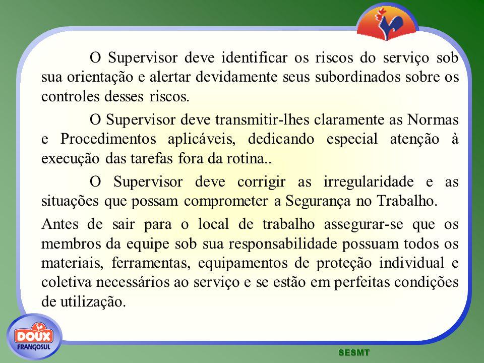 O Supervisor deve identificar os riscos do serviço sob sua orientação e alertar devidamente seus subordinados sobre os controles desses riscos. O Supe