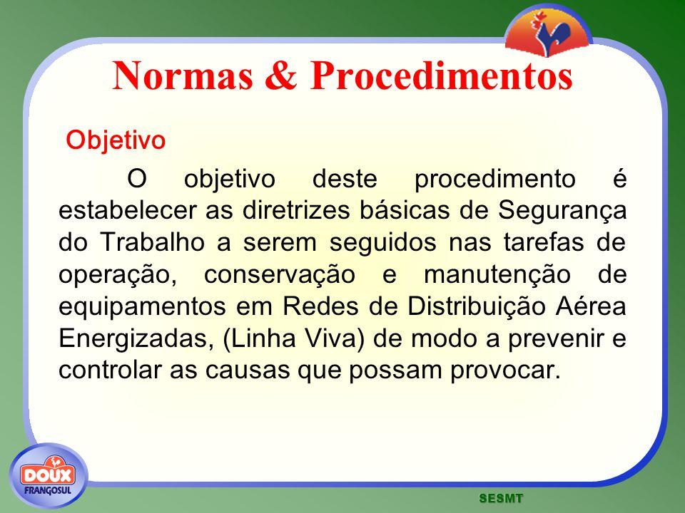 Normas & Procedimentos Objetivo O objetivo deste procedimento é estabelecer as diretrizes básicas de Segurança do Trabalho a serem seguidos nas tarefa