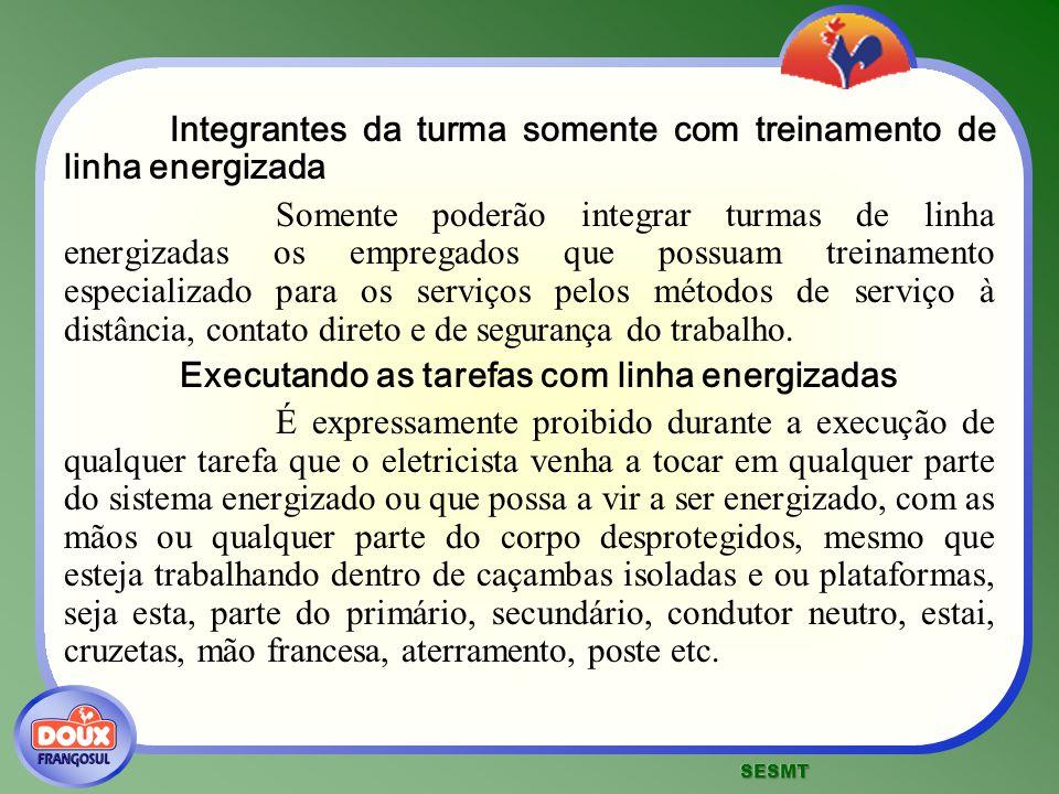 Integrantes da turma somente com treinamento de linha energizada Somente poderão integrar turmas de linha energizadas os empregados que possuam treina
