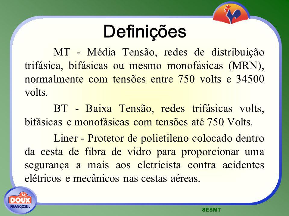 Definições MT - Média Tensão, redes de distribuição trifásica, bifásicas ou mesmo monofásicas (MRN), normalmente com tensões entre 750 volts e 34500 v