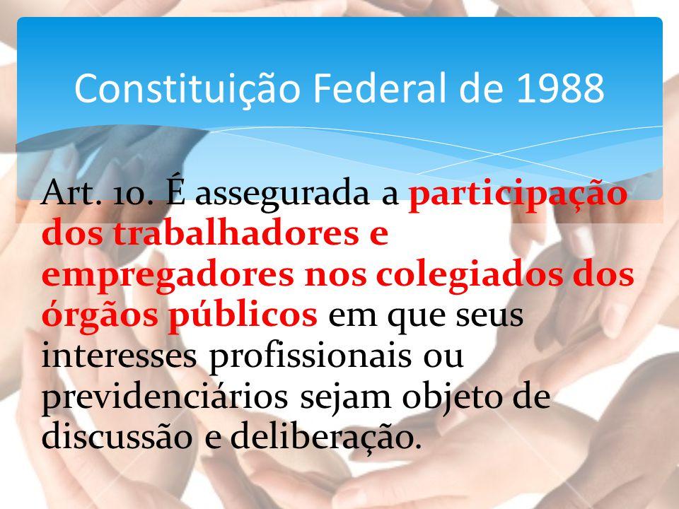 Art. 10. É assegurada a participação dos trabalhadores e empregadores nos colegiados dos órgãos públicos em que seus interesses profissionais ou previ