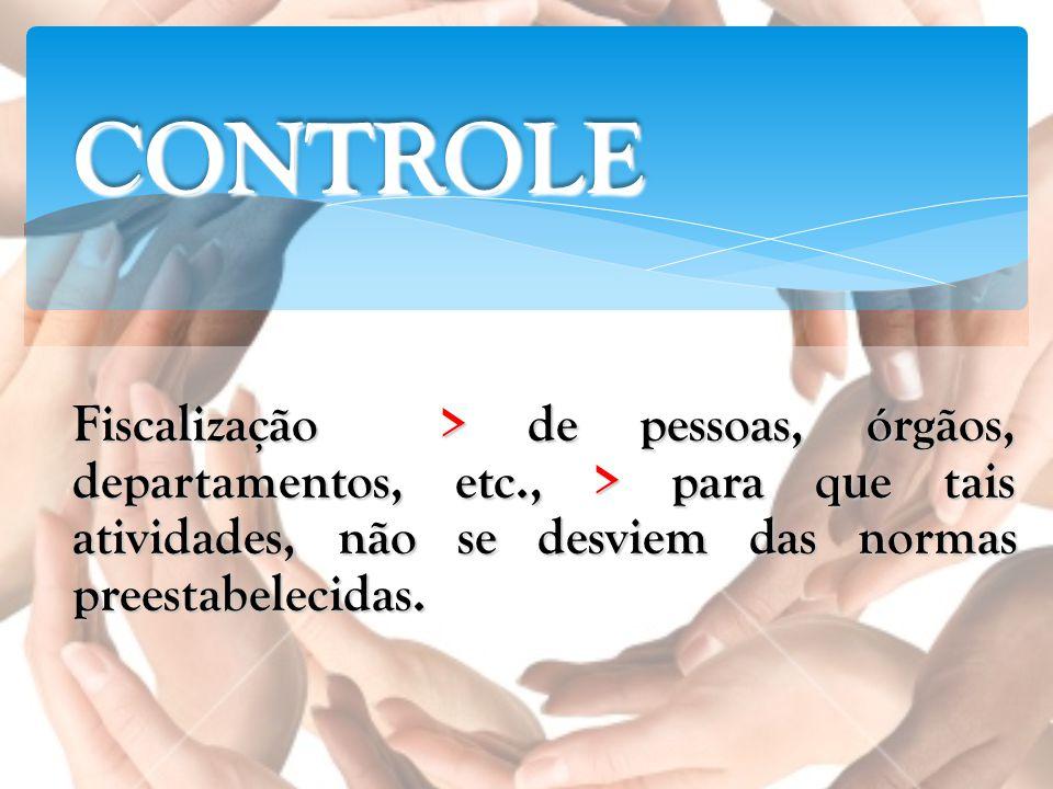 CONTROLECONTROLE Fiscalização > de pessoas, órgãos, departamentos, etc., > para que tais atividades, não se desviem das normas preestabelecidas.