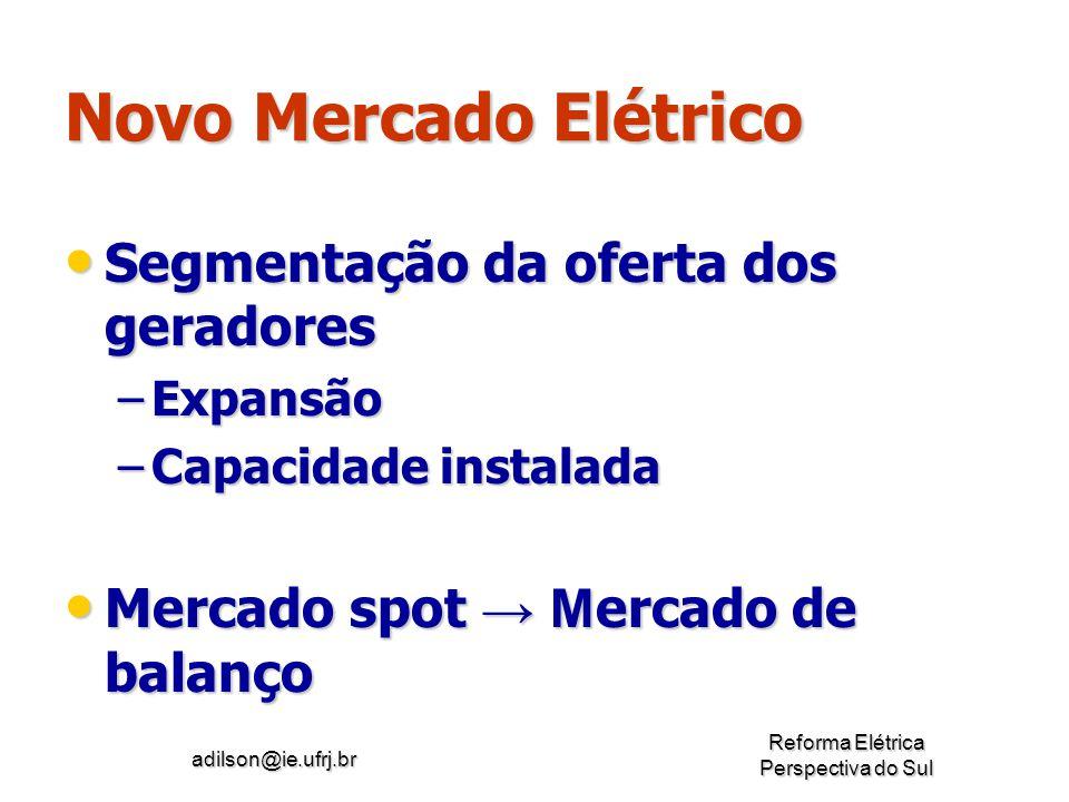 adilson@ie.ufrj.br Reforma Elétrica Perspectiva do Sul Novo Mercado Elétrico Segmentação da oferta dos geradores Segmentação da oferta dos geradores –