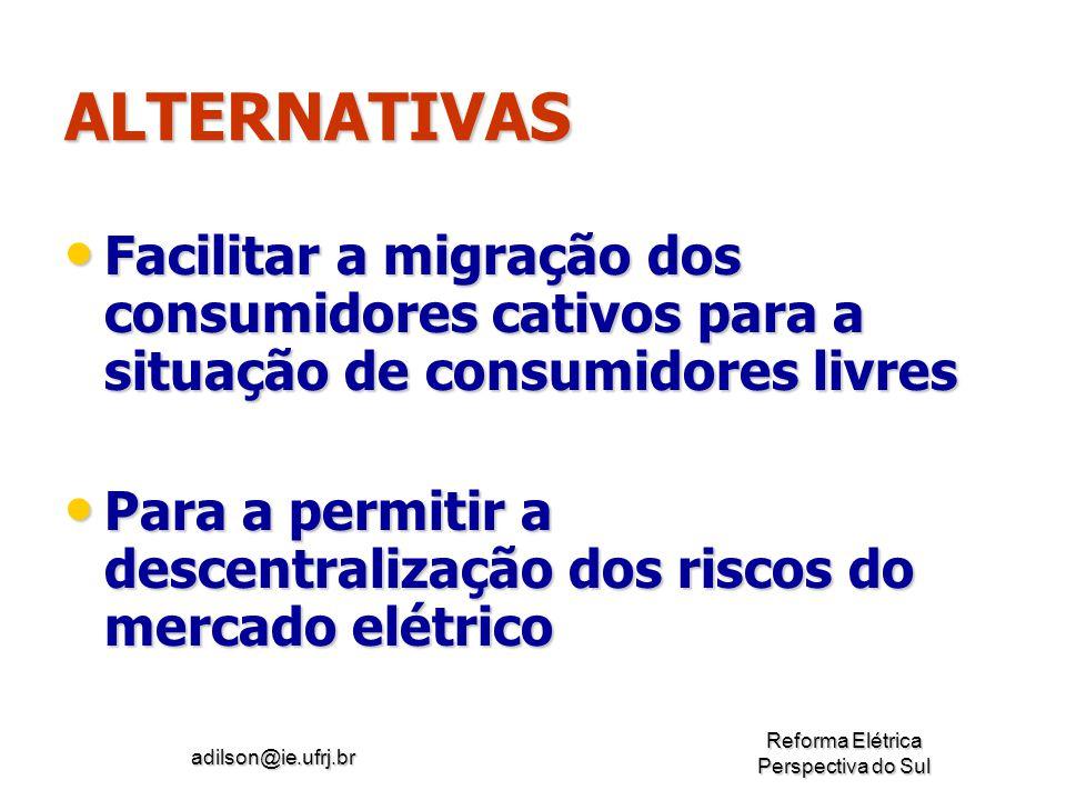 adilson@ie.ufrj.br Reforma Elétrica Perspectiva do Sul ALTERNATIVAS Facilitar a migração dos consumidores cativos para a situação de consumidores livr