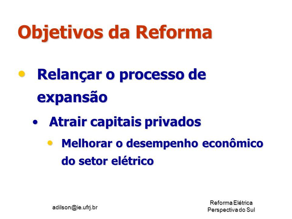 adilson@ie.ufrj.br Reforma Elétrica Perspectiva do Sul Objetivos da Reforma Relançar o processo de expansão Relançar o processo de expansão Atrair cap