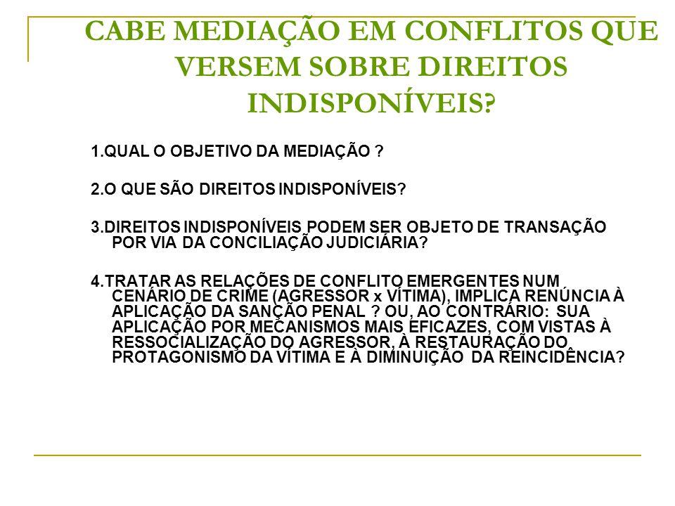 CABE MEDIAÇÃO EM CONFLITOS QUE VERSEM SOBRE DIREITOS INDISPONÍVEIS.