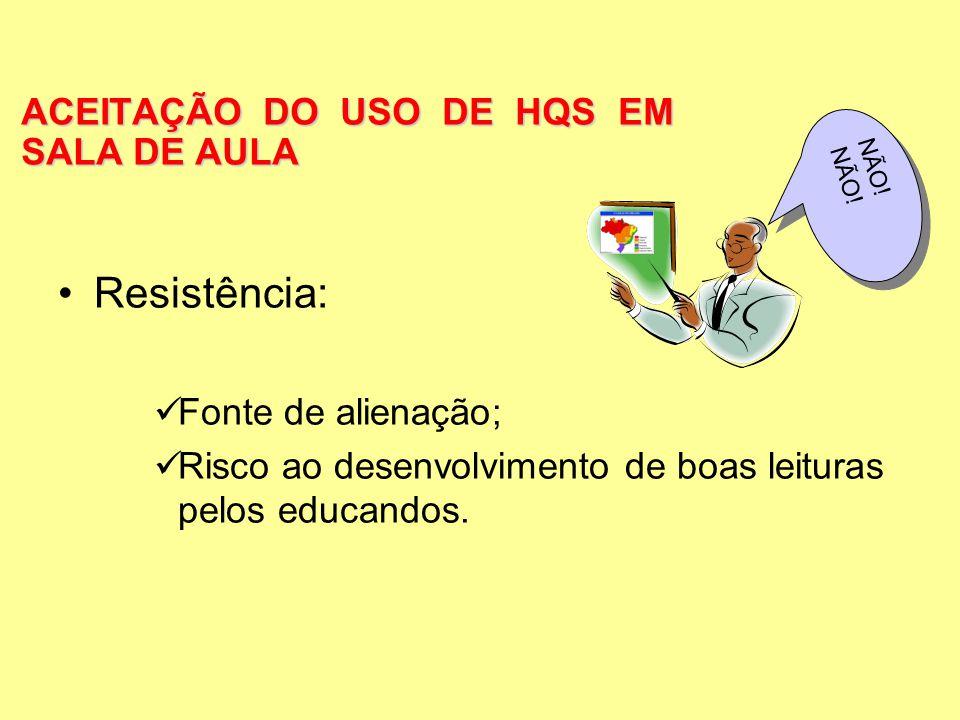 ACEITAÇÃO DO USO DE HQS EM SALA DE AULA Resistência: Fonte de alienação; Risco ao desenvolvimento de boas leituras pelos educandos. NÃO!NÃO!
