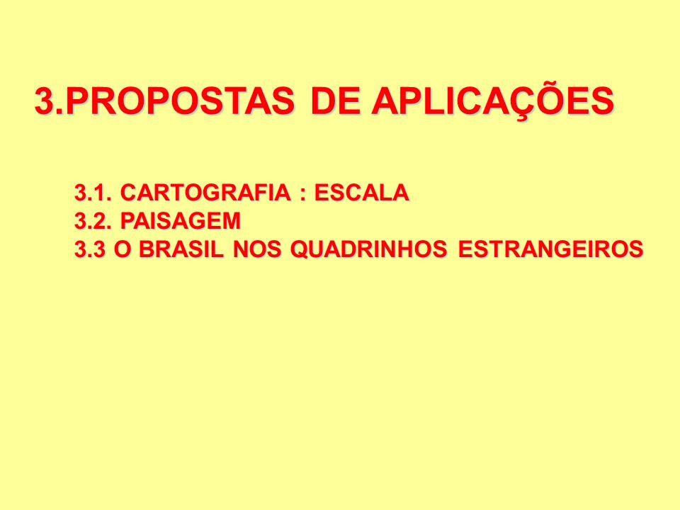 3.PROPOSTAS DE APLICAÇÕES 3.1. CARTOGRAFIA : ESCALA 3.2. PAISAGEM 3.3 O BRASIL NOS QUADRINHOS ESTRANGEIROS