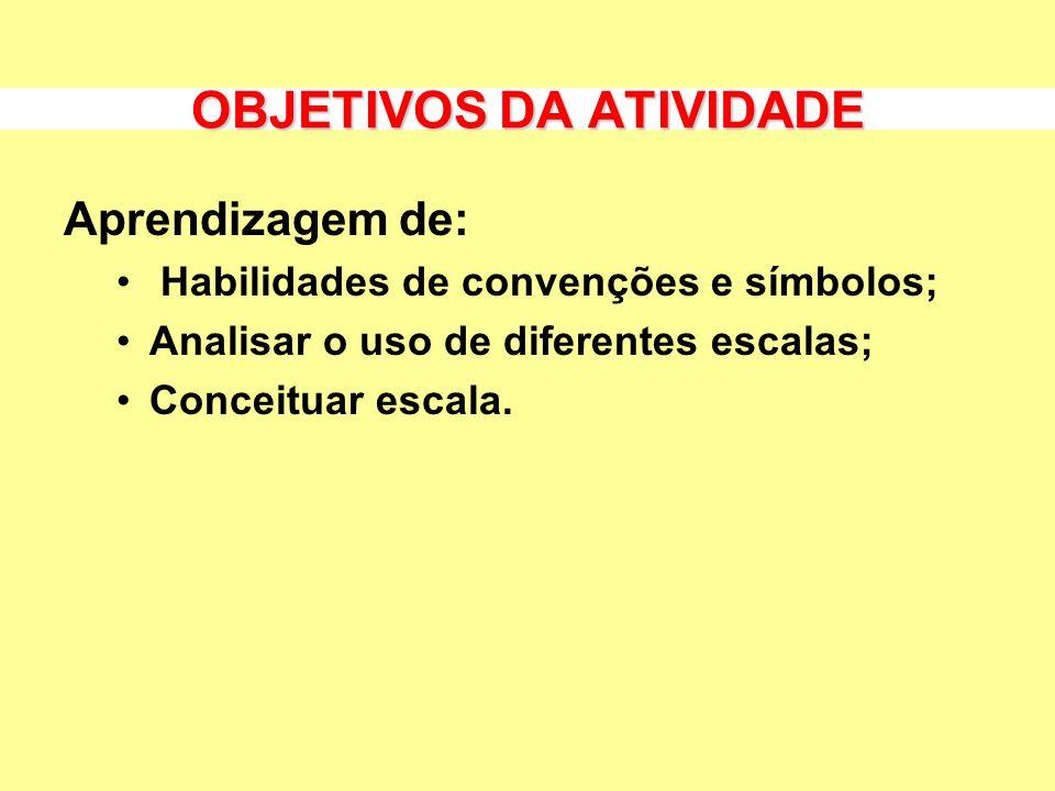 OBJETIVOS DA ATIVIDADE Aprendizagem de: Habilidades de convenções e símbolos; Analisar o uso de diferentes escalas; Conceituar escala.