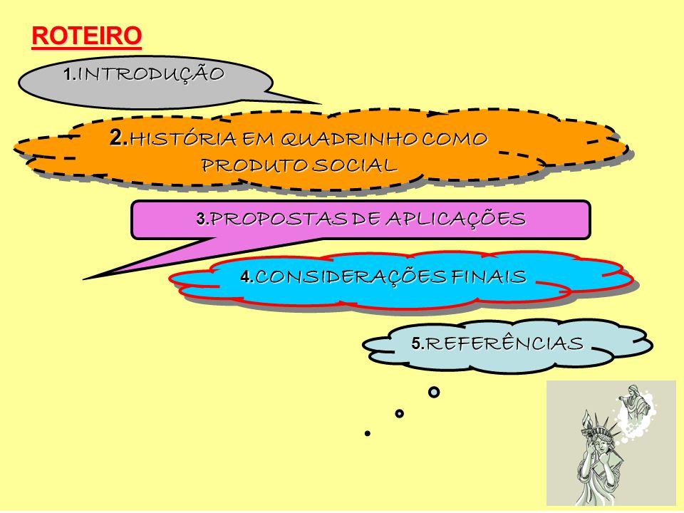 ROTEIRO 2. HISTÓRIA EM QUADRINHO COMO PRODUTO SOCIAL 5. REFERÊNCIAS 4. CONSIDERAÇÕES FINAIS 3. PROPOSTAS DE APLICAÇÕES 1. INTRODUÇÃO