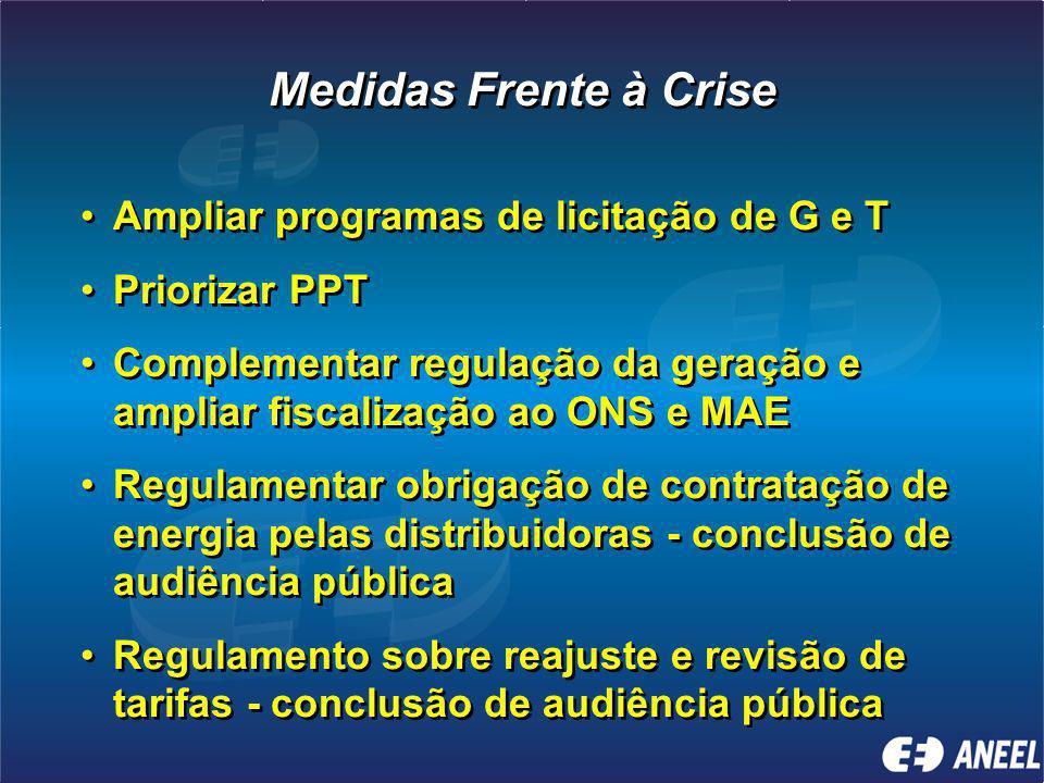 Medidas Frente à Crise Ampliar programas de licitação de G e T Priorizar PPT Complementar regulação da geração e ampliar fiscalização ao ONS e MAE Regulamentar obrigação de contratação de energia pelas distribuidoras - conclusão de audiência pública Regulamento sobre reajuste e revisão de tarifas - conclusão de audiência pública Ampliar programas de licitação de G e T Priorizar PPT Complementar regulação da geração e ampliar fiscalização ao ONS e MAE Regulamentar obrigação de contratação de energia pelas distribuidoras - conclusão de audiência pública Regulamento sobre reajuste e revisão de tarifas - conclusão de audiência pública