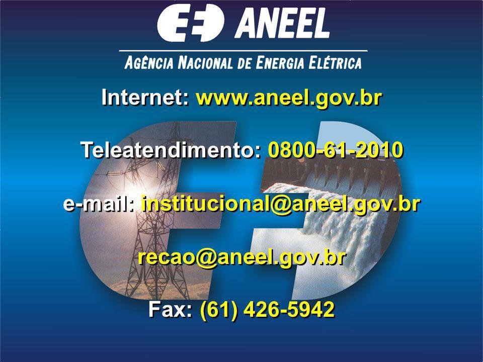 Internet: www.aneel.gov.br Teleatendimento: 0800-61-2010 e-mail: institucional@aneel.gov.br recao@aneel.gov.br Fax: (61) 426-5942 Internet: www.aneel.gov.br Teleatendimento: 0800-61-2010 e-mail: institucional@aneel.gov.br recao@aneel.gov.br Fax: (61) 426-5942