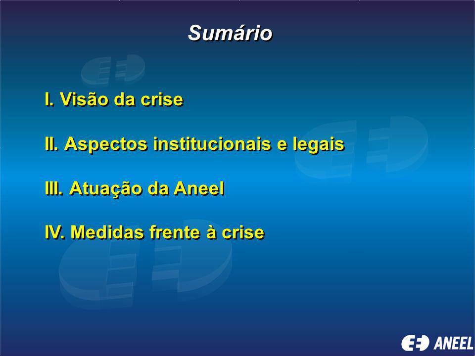 Sumário I.Visão da crise II. Aspectos institucionais e legais III.