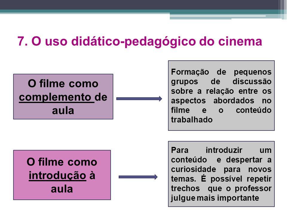 7. O uso didático-pedagógico do cinema O filme como complemento de aula O filme como introdução à aula Formação de pequenos grupos de discussão sobre