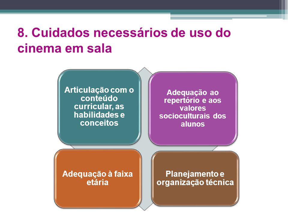 8. Cuidados necessários de uso do cinema em sala Articulação com o conteúdo curricular, as habilidades e conceitos Adequação ao repertório e aos valor