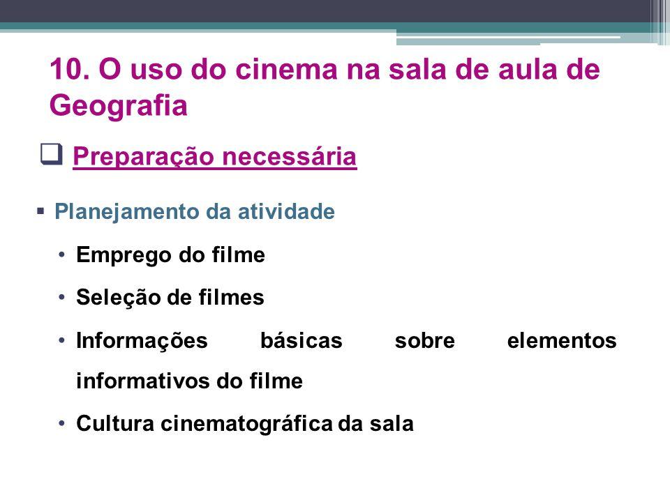  Preparação necessária  Planejamento da atividade Emprego do filme Seleção de filmes Informações básicas sobre elementos informativos do filme Cultu