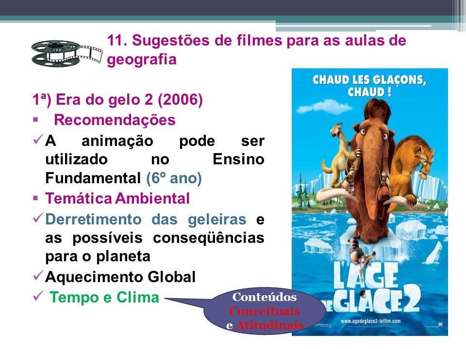 1ª) Era do gelo 2 (2006)  Recomendações A animação pode ser utilizado no Ensino Fundamental (6º ano)  Temática Ambiental Derretimento das geleiras e