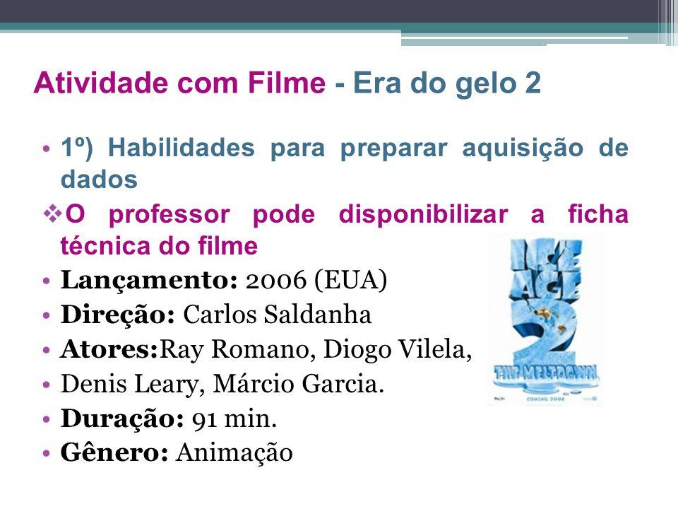 1º) Habilidades para preparar aquisição de dados  O professor pode disponibilizar a ficha técnica do filme Lançamento: 2006 (EUA) Direção: Carlos Sal
