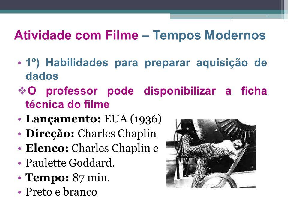 1º) Habilidades para preparar aquisição de dados  O professor pode disponibilizar a ficha técnica do filme Lançamento: EUA (1936) Direção: Charles Ch