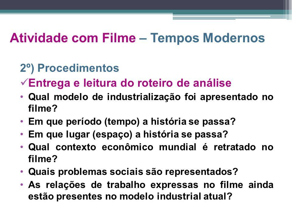 Atividade com Filme – Tempos Modernos 2º) Procedimentos Entrega e leitura do roteiro de análise Qual modelo de industrialização foi apresentado no fil