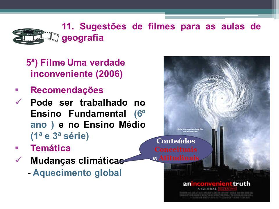 5ª) Filme Uma verdade inconveniente (2006)  Recomendações Pode ser trabalhado no Ensino Fundamental (6º ano ) e no Ensino Médio (1ª e 3ª série)  Tem