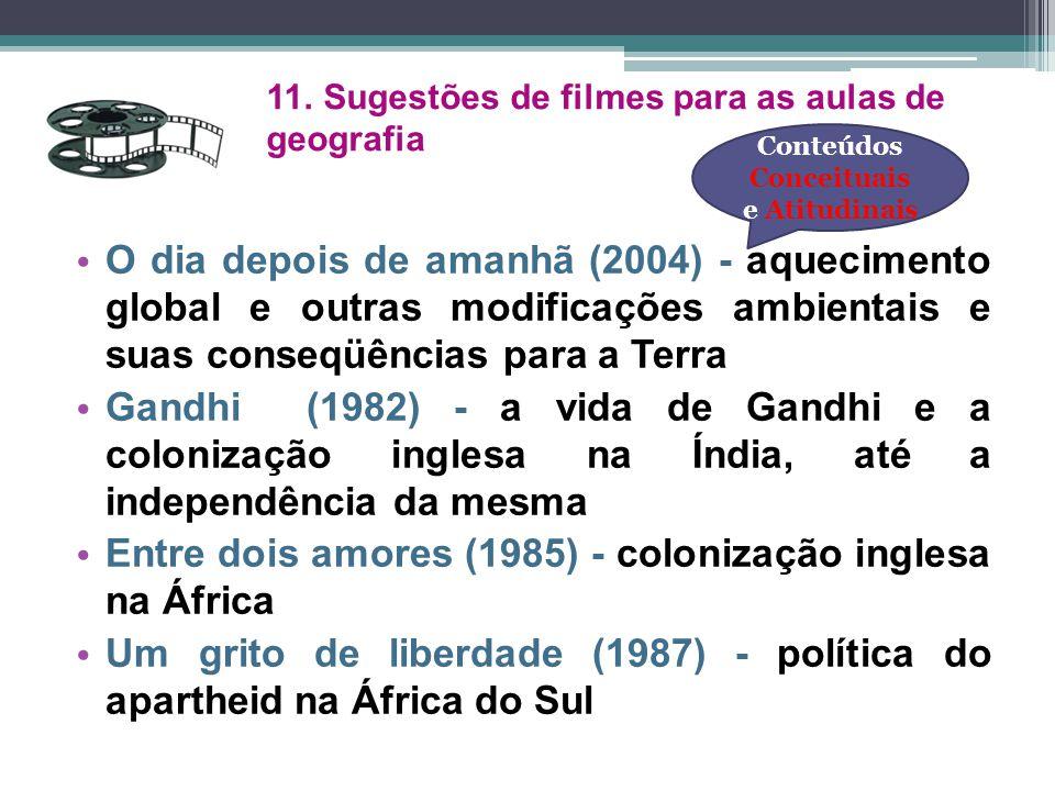 11. Sugestões de filmes para as aulas de geografia O dia depois de amanhã (2004) - aquecimento global e outras modificações ambientais e suas conseqüê