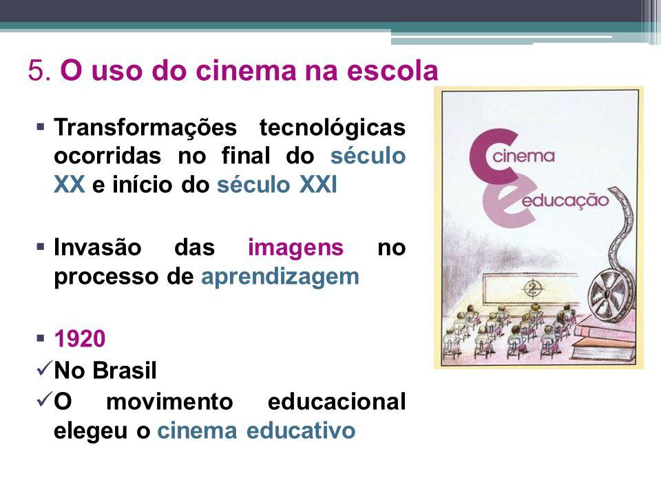 5. O uso do cinema na escola  Transformações tecnológicas ocorridas no final do século XX e início do século XXI  Invasão das imagens no processo de