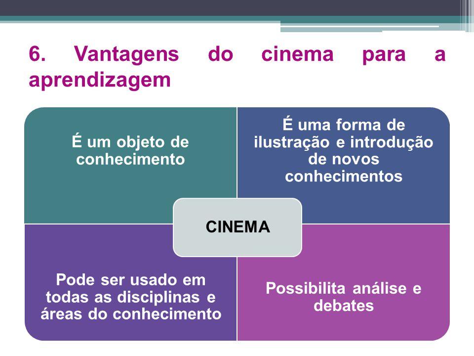 6. Vantagens do cinema para a aprendizagem É um objeto de conhecimento É uma forma de ilustração e introdução de novos conhecimentos Pode ser usado em