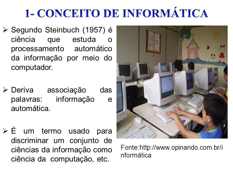  Segundo Steinbuch (1957) é ciência que estuda o processamento automático da informação por meio do computador.  Deriva associação das palavras: inf