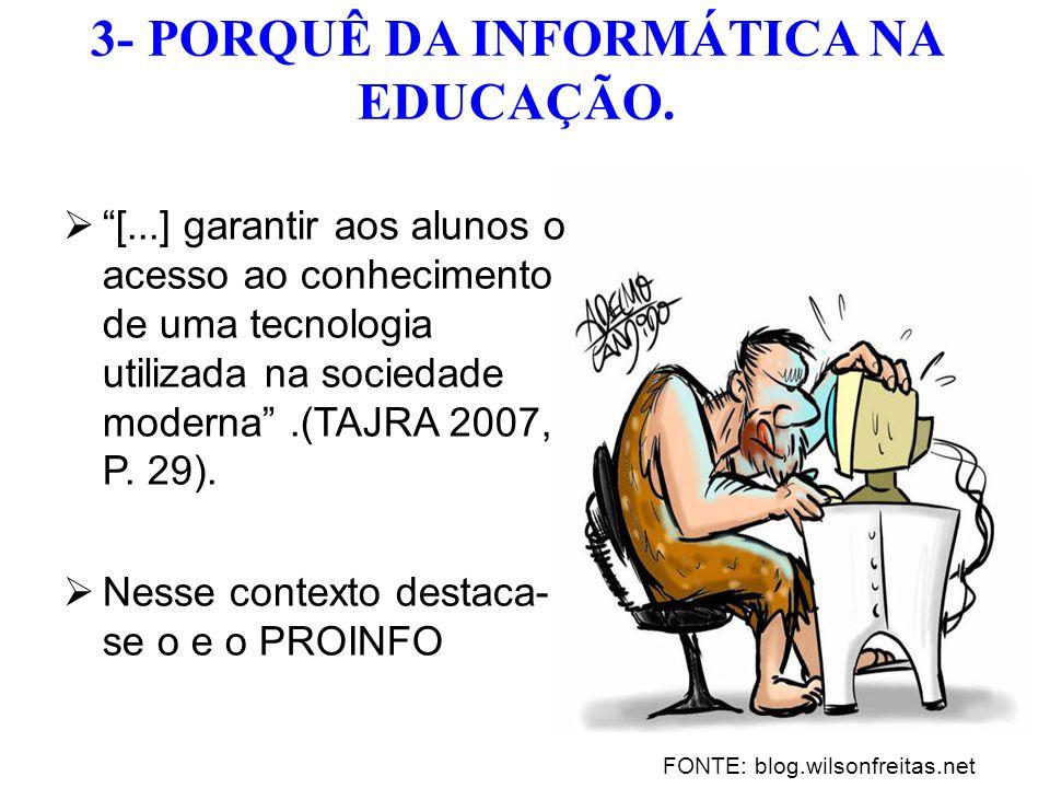  [...] garantir aos alunos o acesso ao conhecimento de uma tecnologia utilizada na sociedade moderna .(TAJRA 2007, P.