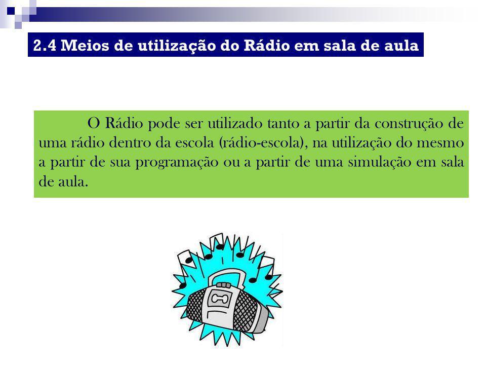 O Rádio pode ser utilizado tanto a partir da construção de uma rádio dentro da escola (rádio-escola), na utilização do mesmo a partir de sua programaç
