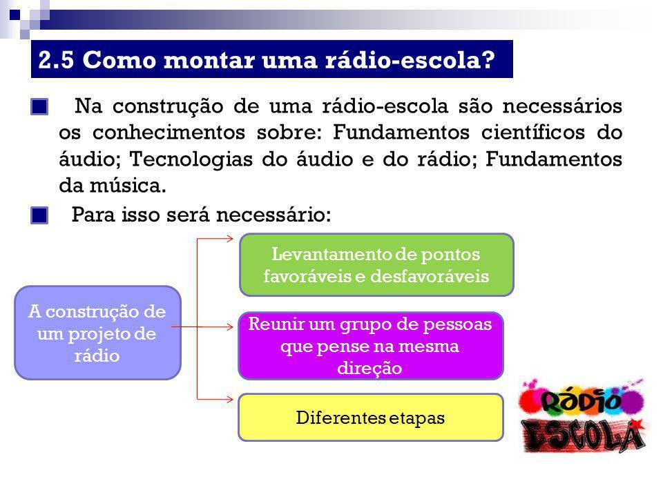 2.5 Como montar uma rádio-escola? Na construção de uma rádio-escola são necessários os conhecimentos sobre: Fundamentos científicos do áudio; Tecnolog