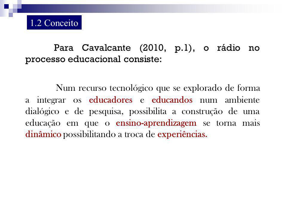 Para Cavalcante (2010, p.1), o rádio no processo educacional consiste: Num recurso tecnológico que se explorado de forma a integrar os educadores e ed