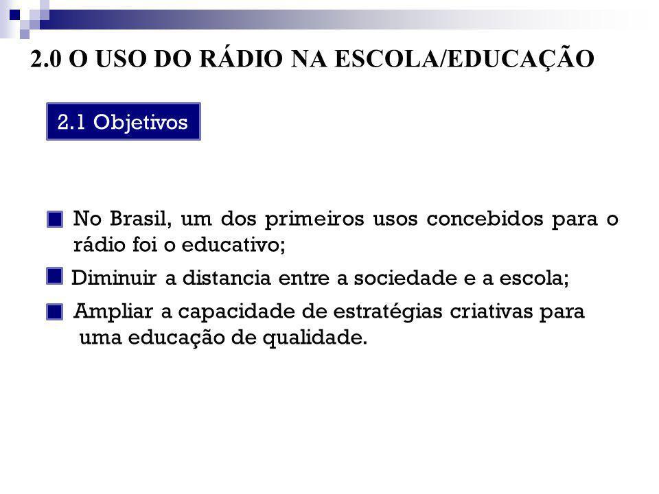 2.0 O USO DO RÁDIO NA ESCOLA/EDUCAÇÃO No Brasil, um dos primeiros usos concebidos para o rádio foi o educativo; 2.1 Objetivos Diminuir a distancia ent