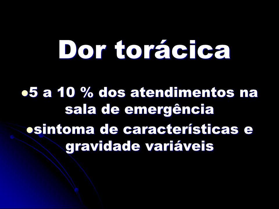 Dor torácica 5 a 10 % dos atendimentos na sala de emergência 5 a 10 % dos atendimentos na sala de emergência sintoma de características e gravidade variáveis sintoma de características e gravidade variáveis