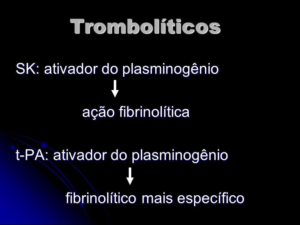 Trombolíticos SK: ativador do plasminogênio ação fibrinolítica ação fibrinolítica t-PA: ativador do plasminogênio fibrinolítico mais específico fibrinolítico mais específico