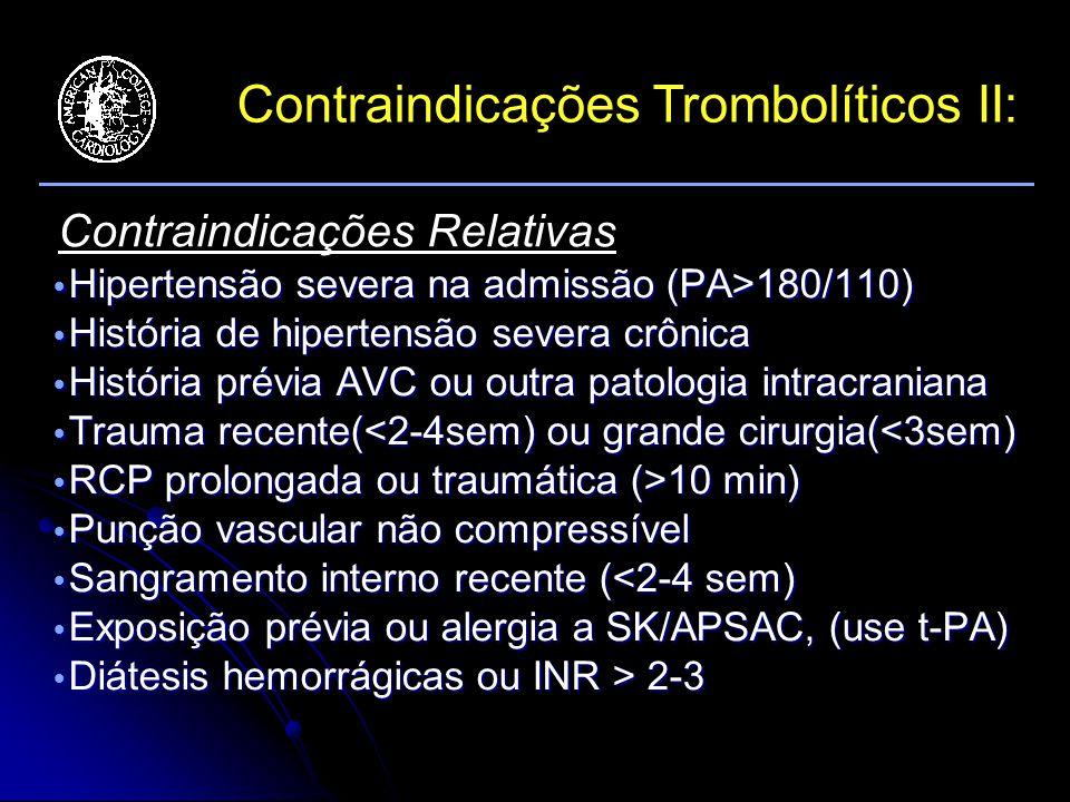 Contraindicações Trombolíticos II: Hipertensão severa na admissão (PA>180/110) Hipertensão severa na admissão (PA>180/110) História de hipertensão severa crônica História de hipertensão severa crônica História prévia AVC ou outra patologia intracraniana História prévia AVC ou outra patologia intracraniana Trauma recente(<2-4sem) ou grande cirurgia(<3sem) Trauma recente(<2-4sem) ou grande cirurgia(<3sem) RCP prolongada ou traumática (>10 min) RCP prolongada ou traumática (>10 min) Punção vascular não compressível Punção vascular não compressível Sangramento interno recente (<2-4 sem) Sangramento interno recente (<2-4 sem) Exposição prévia ou alergia a SK/APSAC, (use t-PA) Exposição prévia ou alergia a SK/APSAC, (use t-PA) Diátesis hemorrágicas ou INR > 2-3 Diátesis hemorrágicas ou INR > 2-3 Contraindicações Relativas