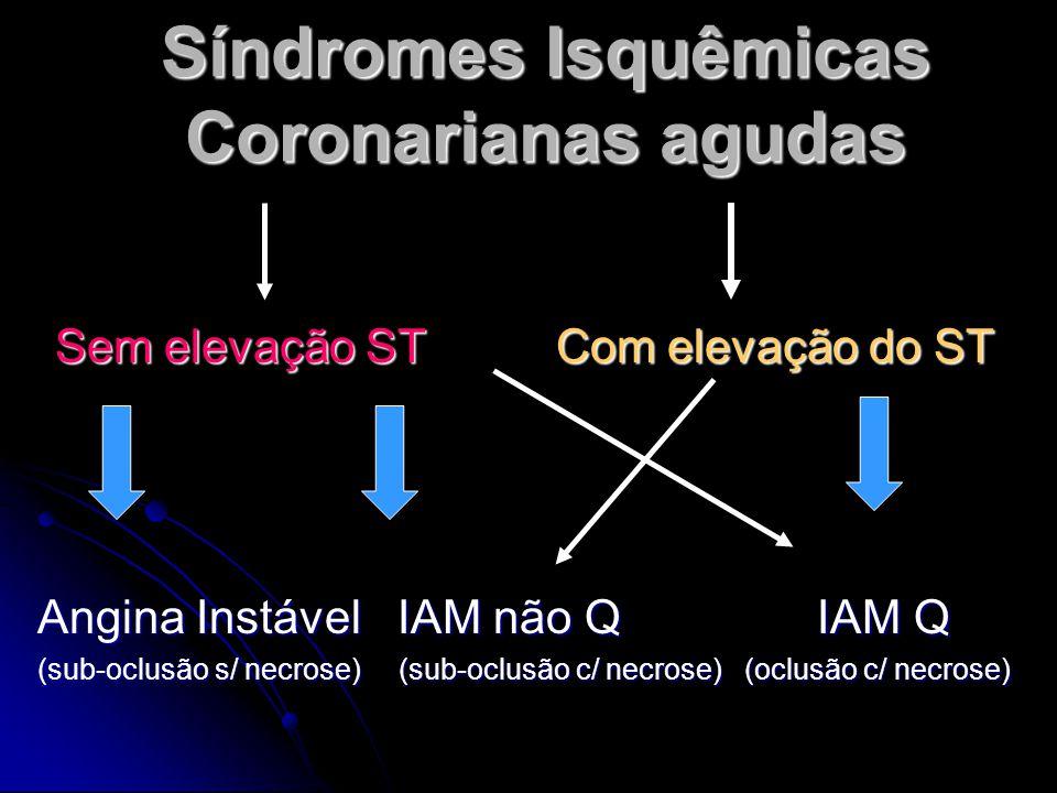 Síndromes Isquêmicas Coronarianas agudas Sem elevação ST Com elevação do ST Angina Instável IAM não Q IAM Q (sub-oclusão s/ necrose) (sub-oclusão c/ necrose) (oclusão c/ necrose)