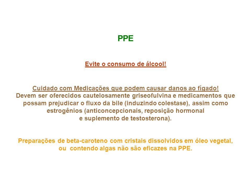 PPE Evite o consumo de álcool! Cuidado com Medicações que podem causar danos ao fígado! Devem ser oferecidos cautelosamente griseofulvina e medicament