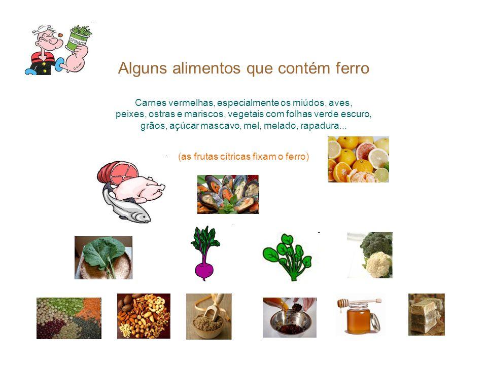Alguns alimentos que contém ferro Carnes vermelhas, especialmente os miúdos, aves, peixes, ostras e mariscos, vegetais com folhas verde escuro, grãos,