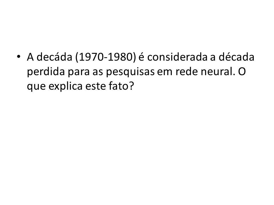 A decáda (1970-1980) é considerada a década perdida para as pesquisas em rede neural. O que explica este fato?