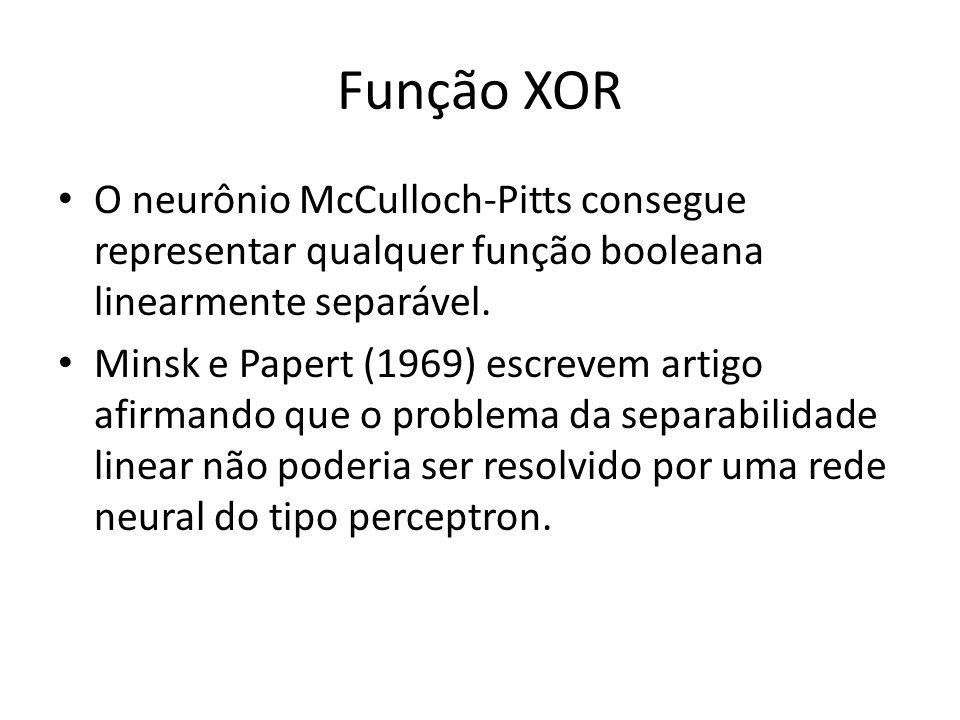 Função XOR O neurônio McCulloch-Pitts consegue representar qualquer função booleana linearmente separável. Minsk e Papert (1969) escrevem artigo afirm